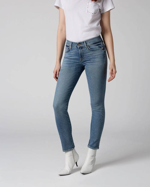 7 For All Mankind - Mid Rise Roxanne Crop Luxe Vintage Flashback