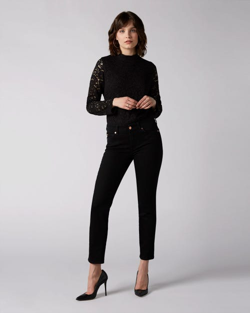 7 For All Mankind - Mid Rise Roxanne Crop Noir