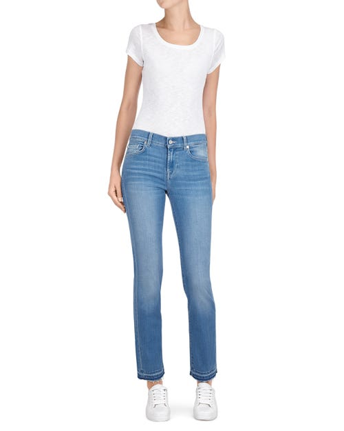 7 For All Mankind - Mid Rise Roxanne Crop Unrolled Slim Illusion Luxe Riviera
