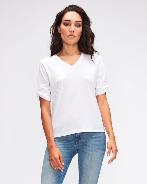 TEE TWISTED SLEEVES CUTIL W/EMBROIDERY WHITE