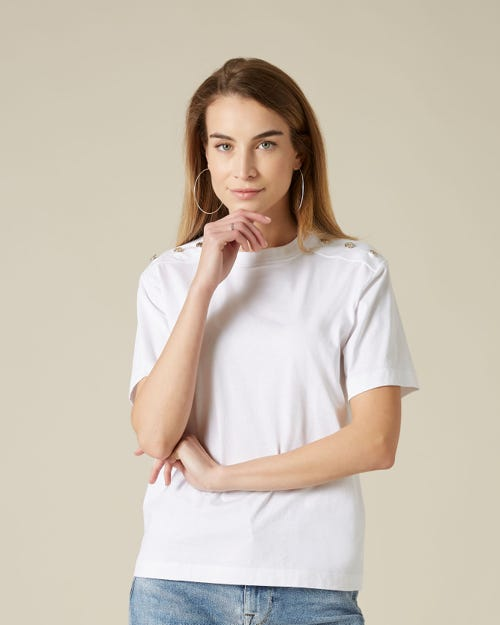 BUTTONED TEE BUTTONS COTTON WHITE