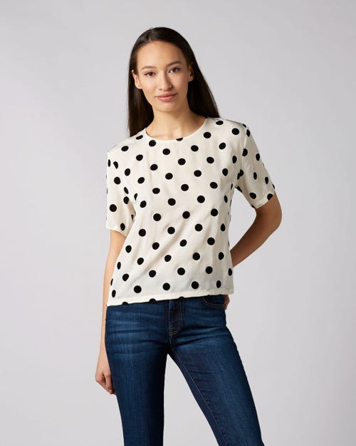 SHORT SLEEVE TEE VISCOSE WHITE WITH POLKA DOTS