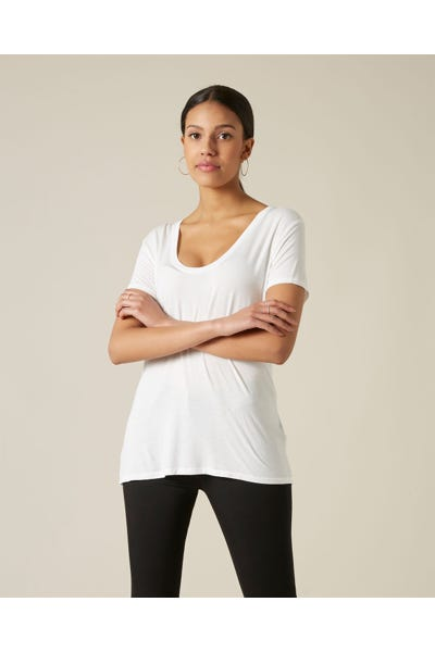 7 For All Mankind - Rayon U Neck Tee Reactive Dye White