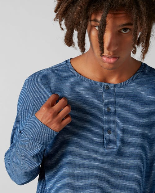 HENLEY TEE COTTON STRIPES INDIGO