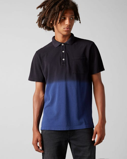 POLO S/S PIQUET FADE NAVY BLUE