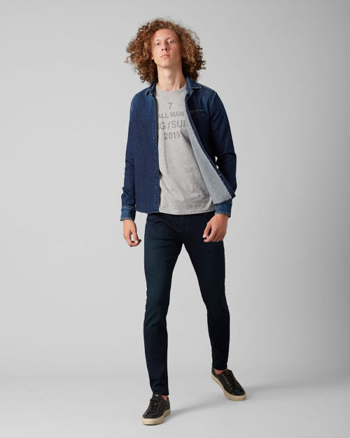 7 For All Mankind - Ronnie Tapered Luxe Performance Plus Blue Black
