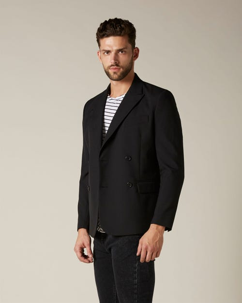 DOUBLE BREASTED BLAZER WITH METAL BUTTONS BLACK