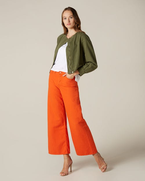 LOTTA CROPPED COLORED LINEN RED