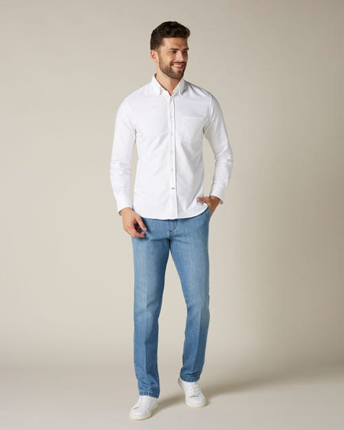 SLIMMY CHINO COTTON LINEN LIGHT BLUE WITH CENTER CREASE