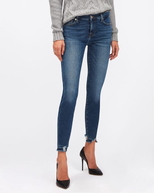 THE SKINNY CROP LUXE VINTAGE PACIFIC GROVE DISTRESSED WITH DISTRESSED HEM