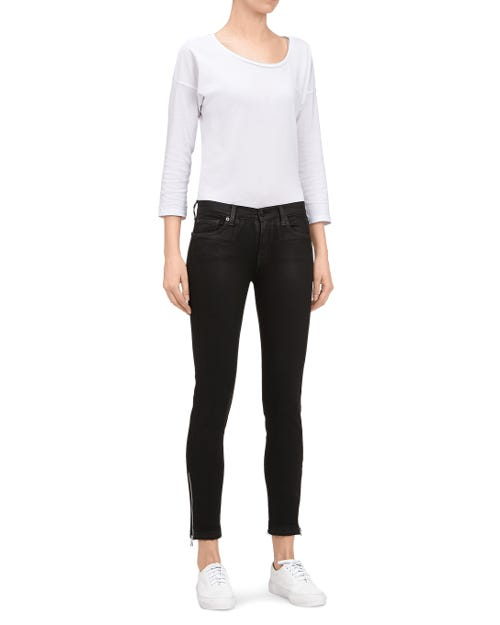 THE SKINNY CROP UNROLLED COATED SLIM ILLUSION BLACK