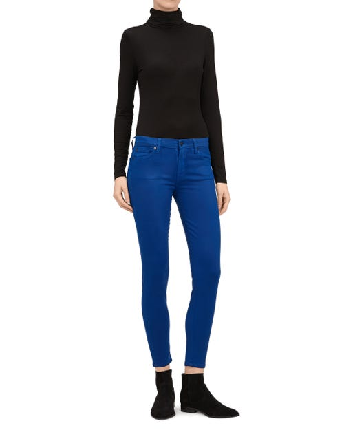 THE SKINNY CROP COATED SATEEN SAPPHIRE
