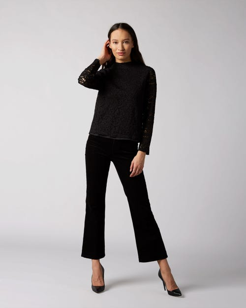 7 For All Mankind - High Waist Vintage Cropped Boot Corduroy Black