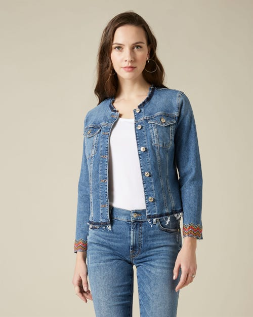 DENIM JACKET SLIM ILLUSION COUNTDOWN WITH MULTI SEQUINED BAND