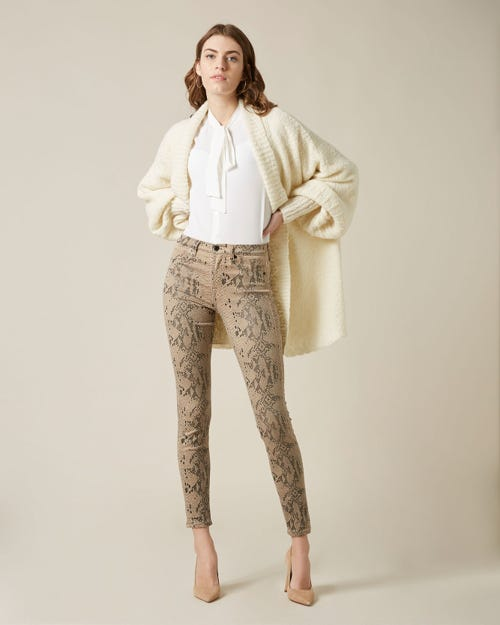 THE SKINNY COATED SNAKESKIN ALMOND