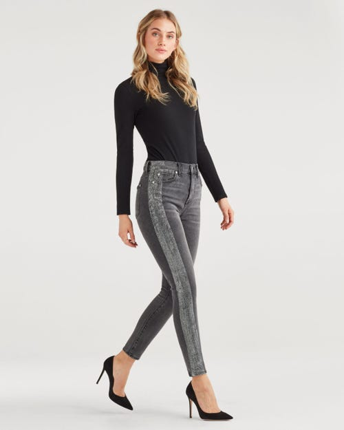 HIGH WAIST ANKLE SKINNY WITH METALLIC GLITTER TUX STRIPE