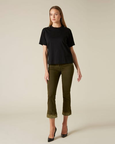 CROPPED BOOT UNROLLED COLORED SLIM ILLUSION ARMY