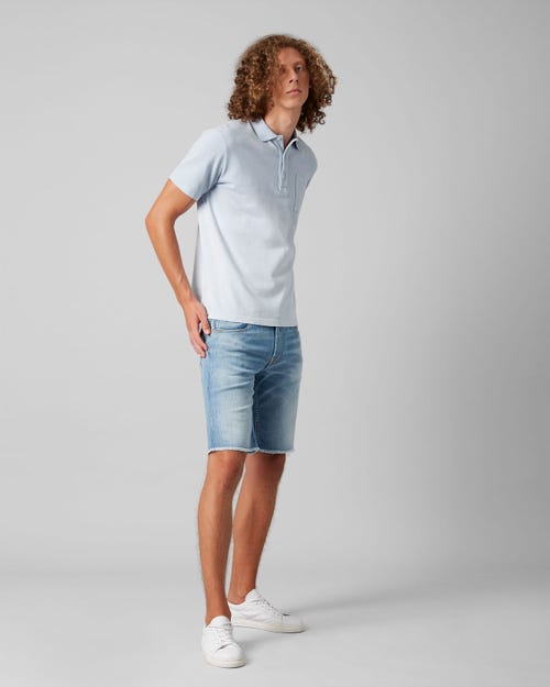 7 For All Mankind - Regular Short Left Hand Bleached Light Blue